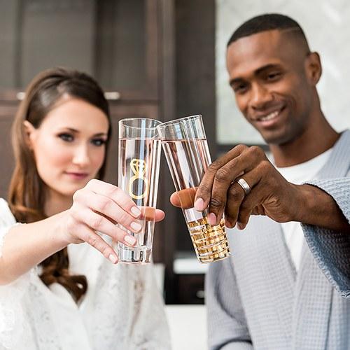 Комплект годежни чаши за шампанско