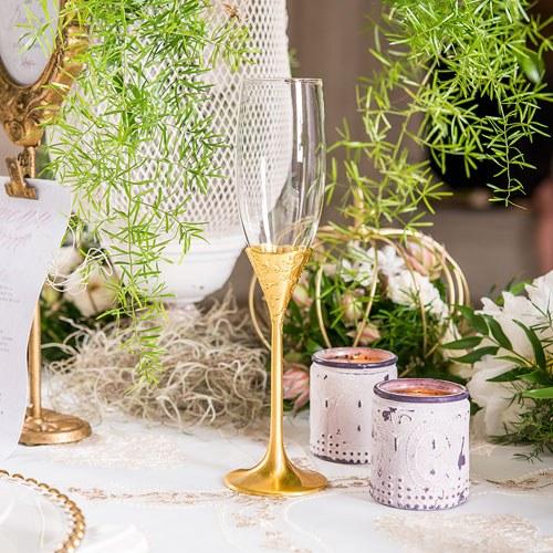 Сватбени чаши за шампанско-Златен блясък