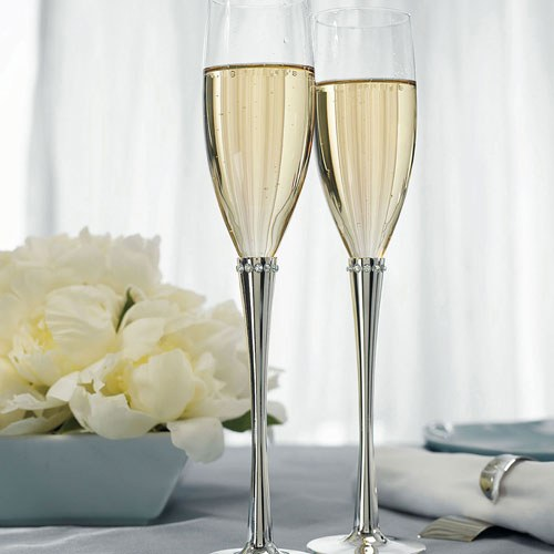 Сватбени чаши за шампанско-Сребро и Кристали