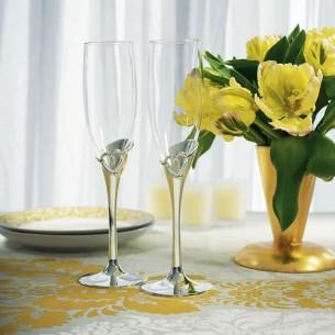 Сватбени чаши за шампанско-Сребърна кала