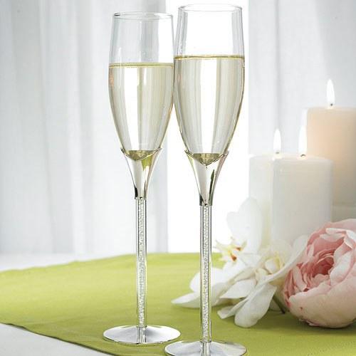 Сватбени чаши за шампанско с кристали