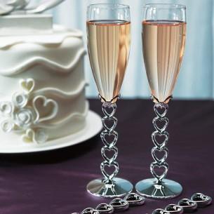 Сватбени чаши за шампанско-Сребърни сърца