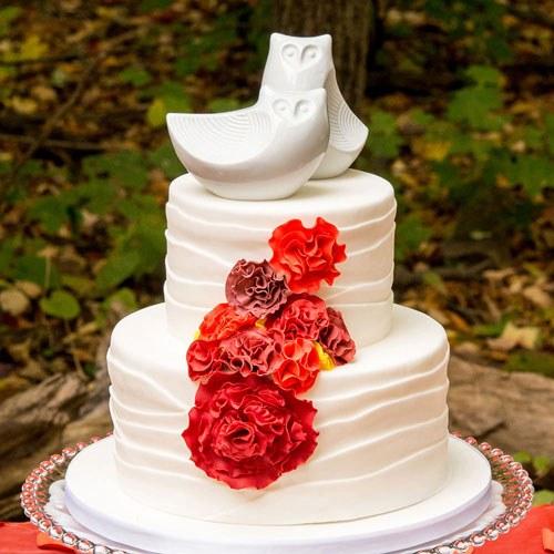 Фигурки за сватбена торта-Порцеланова двойка бухали